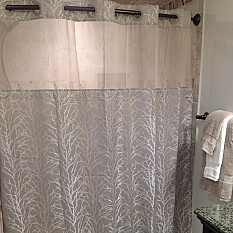 View Details Of Hookless Jacquard Tree Branch Shower Curtain In Taupe