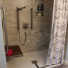 View Details Of Marble Shower Curtain In Silver