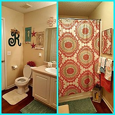 View Details Of AnthologyTM Bungalow Shower Curtain In Coral